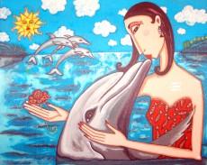Angelica Wiik Delfinpuss 43x53cm